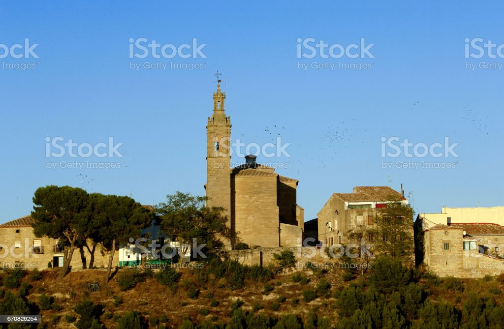 Overview of the Village of  Sansol, Navarra, Spain stock photo