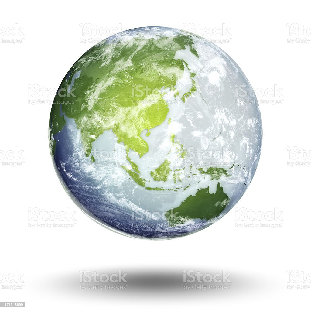 Overview of world globe focusing on Southeast Asia stock photo