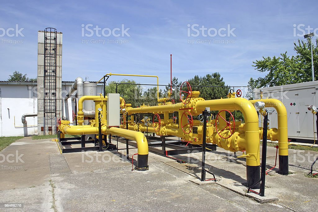 Overview of yellow gas and oil pipelines royalty-free stock photo