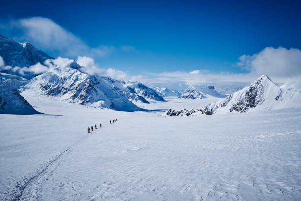 Overview on Denali with hikers climbing  with a sled over the glacier on the West Buttress route. stock photo