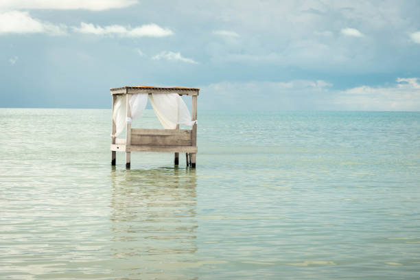 Overwater bed in the Caribbean.
