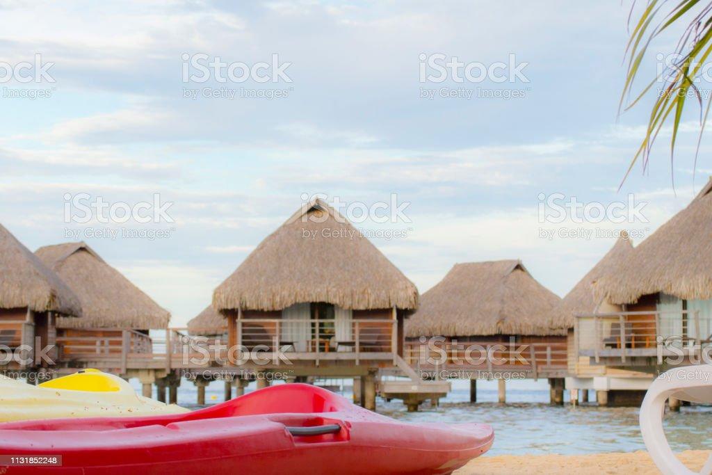 Overwater Bungalows And Kayaks In Bora Bora French Polynesia