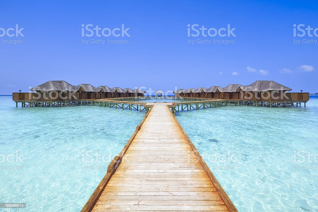 Overwater Bungalows Boardwalk stock photo