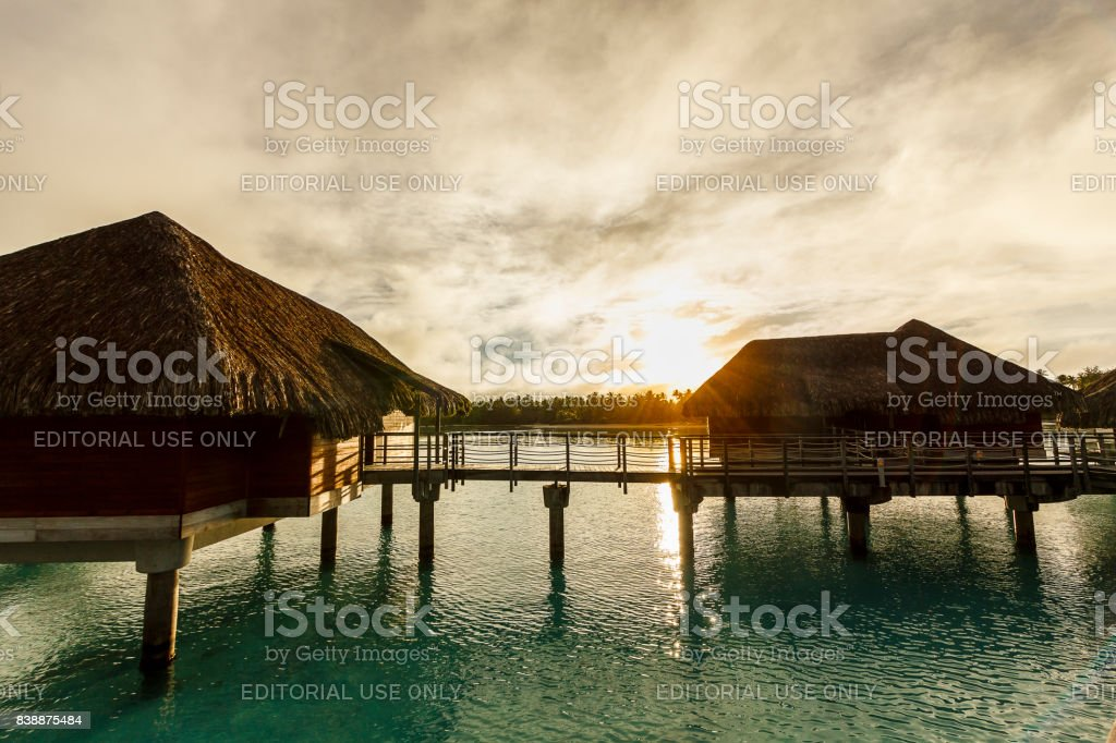 Over-water bungalows in Bora Bora stock photo