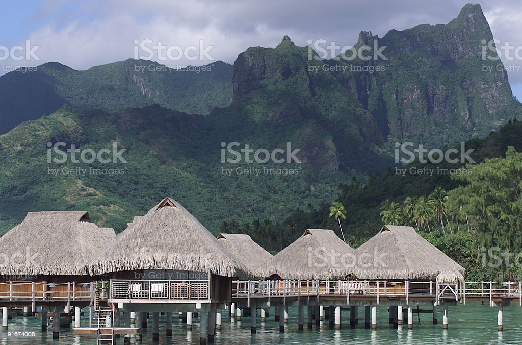 Overwater Bungalows in Moorea royalty-free stock photo