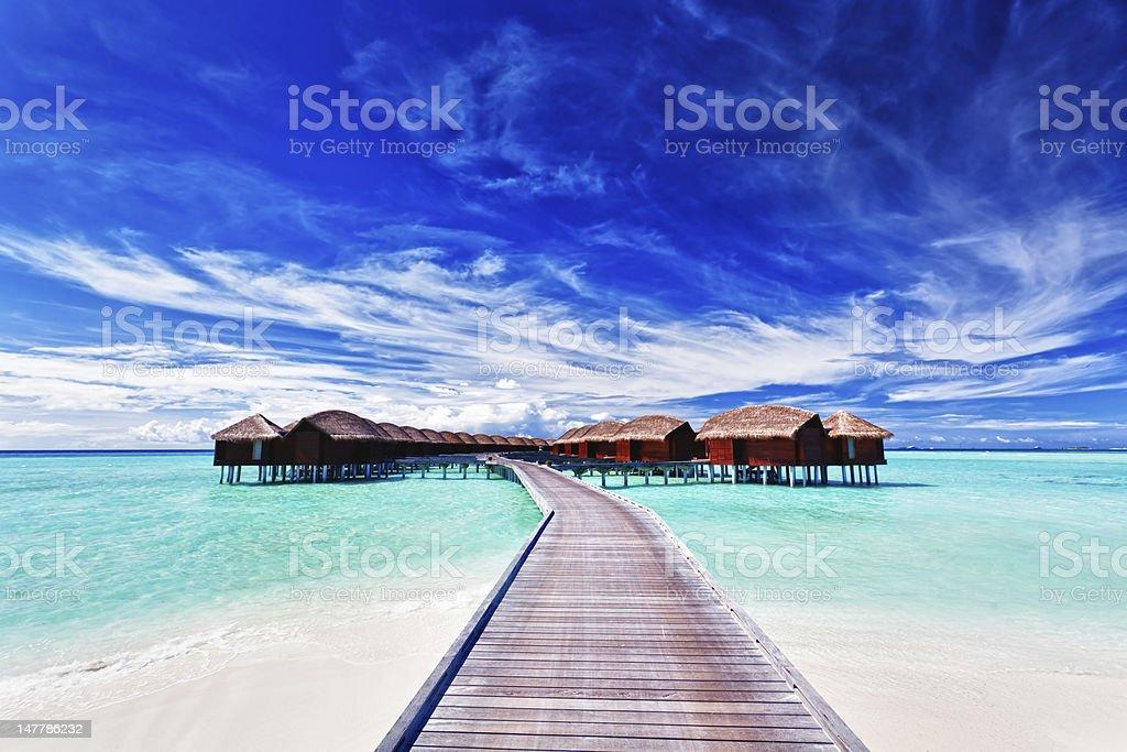 Overwater villas on the lagoon stock photo
