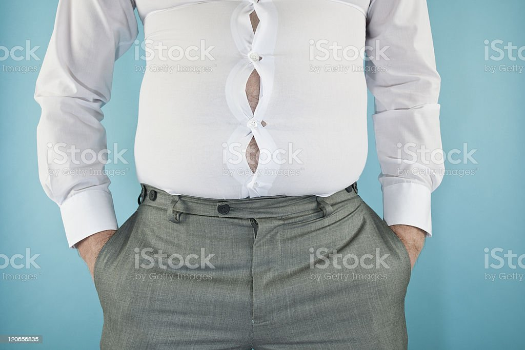 Overweight Businessman with tight shirt stock photo