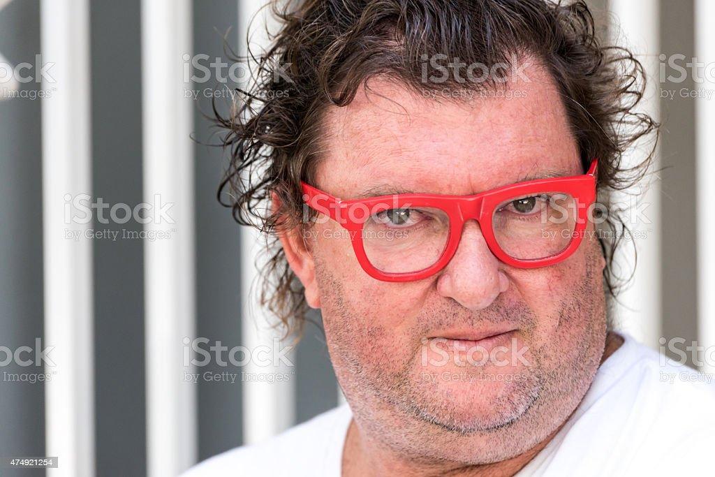 Overweight caucasian mature man stock photo