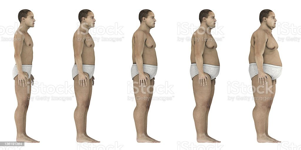 Overweight evolution (side) stock photo