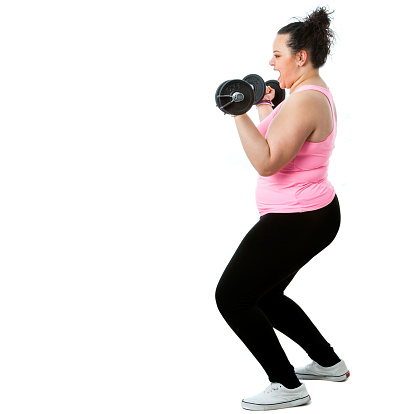 Overweight Girl Doing Workout Stock Photo - Download Image Now
