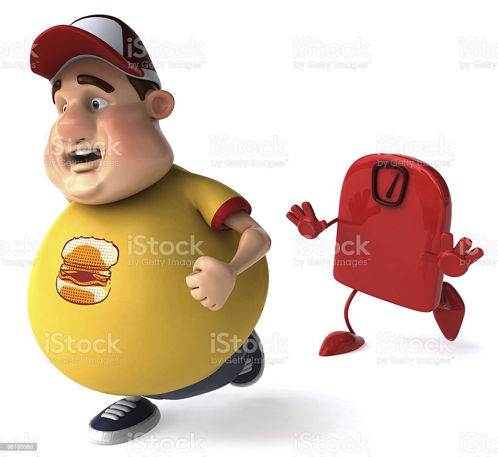 Overweight kid on a diet royalty-free stock photo