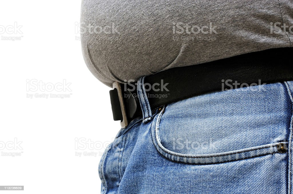Overweight male beer belly in grey t-shirt royalty-free stock photo