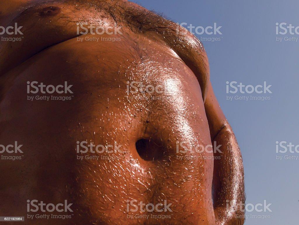Overweight man belly
