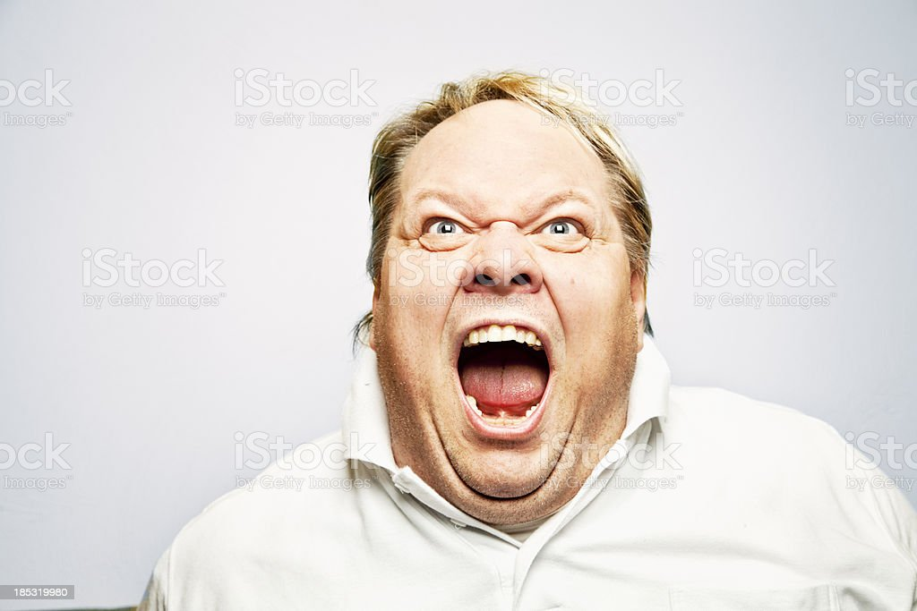overweight man screaming mouth wide open