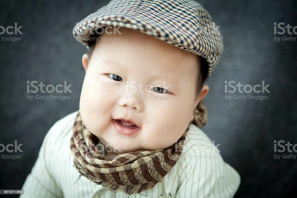 overweight Peaked cap baby photo libre de droits