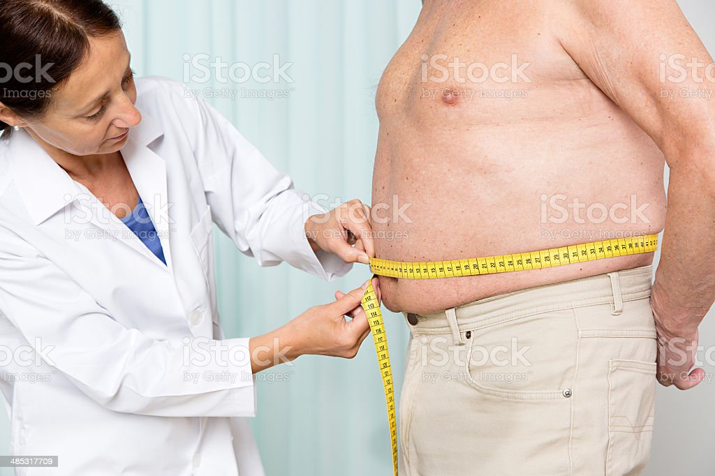 Overweight senior adult stock photo