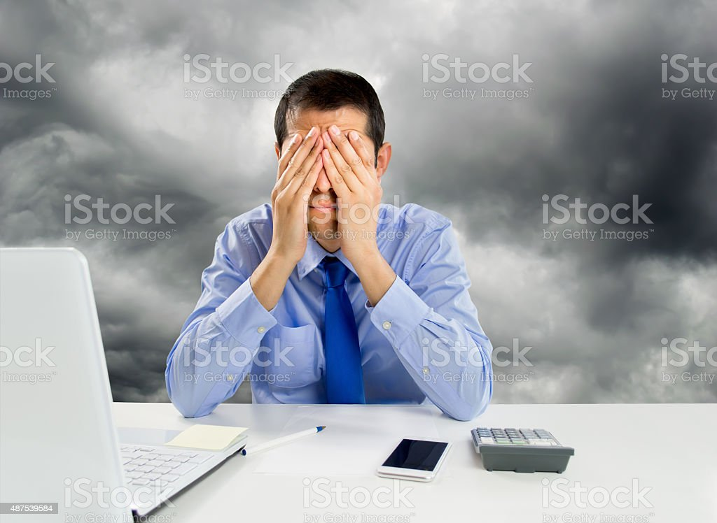 overwhelmed at the workplace stock photo