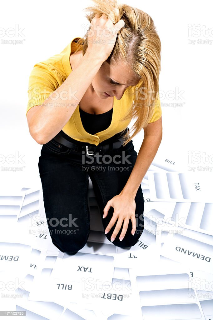 Overwhelmed by debt royalty-free stock photo