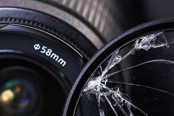 Overwhelmed by hitting a UV filter for photo lens stock photo