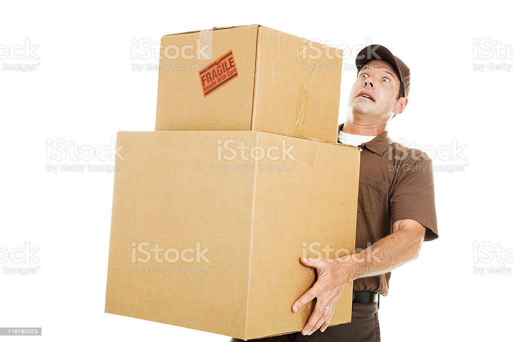 Overwhelmed Delivery Guy royalty-free stock photo