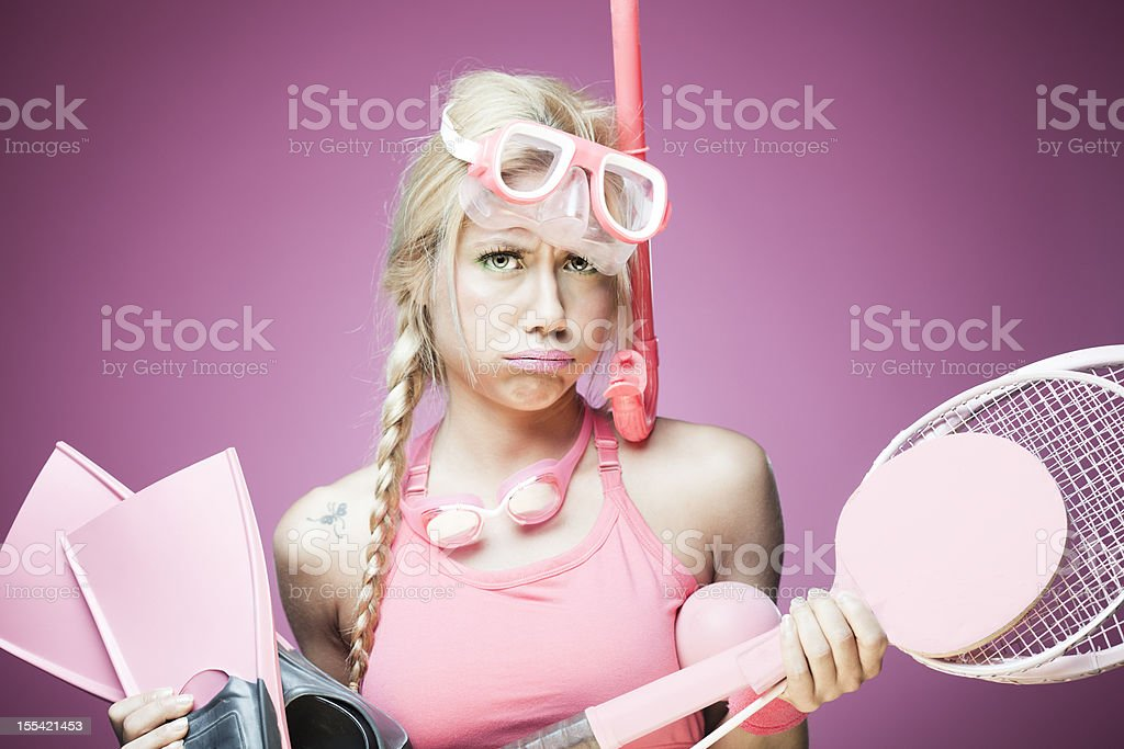 Overwhelmed sports woman in pink. stock photo
