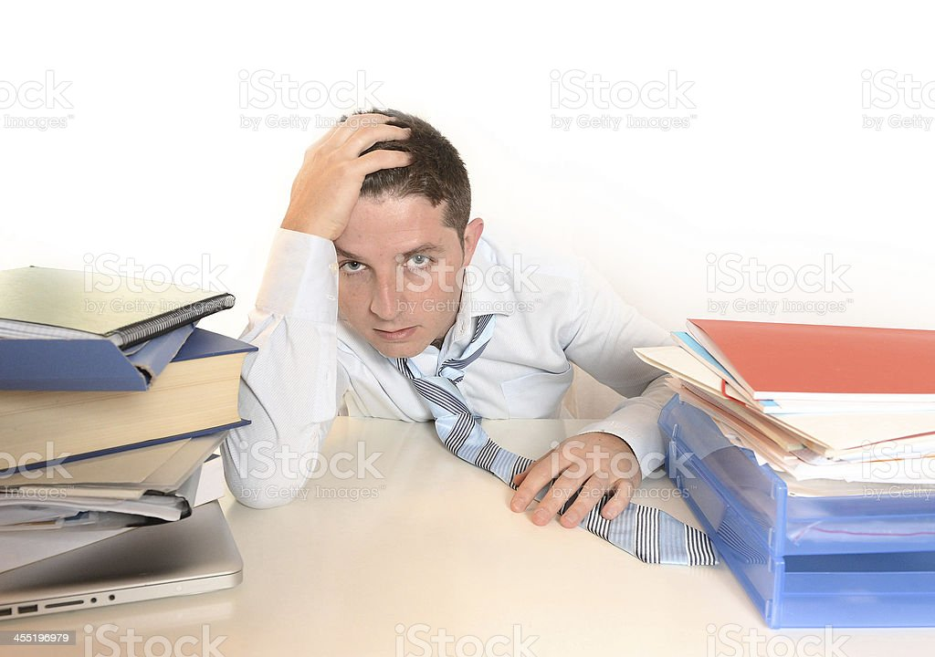 Overwhelmed Stressed student or Businessman stock photo