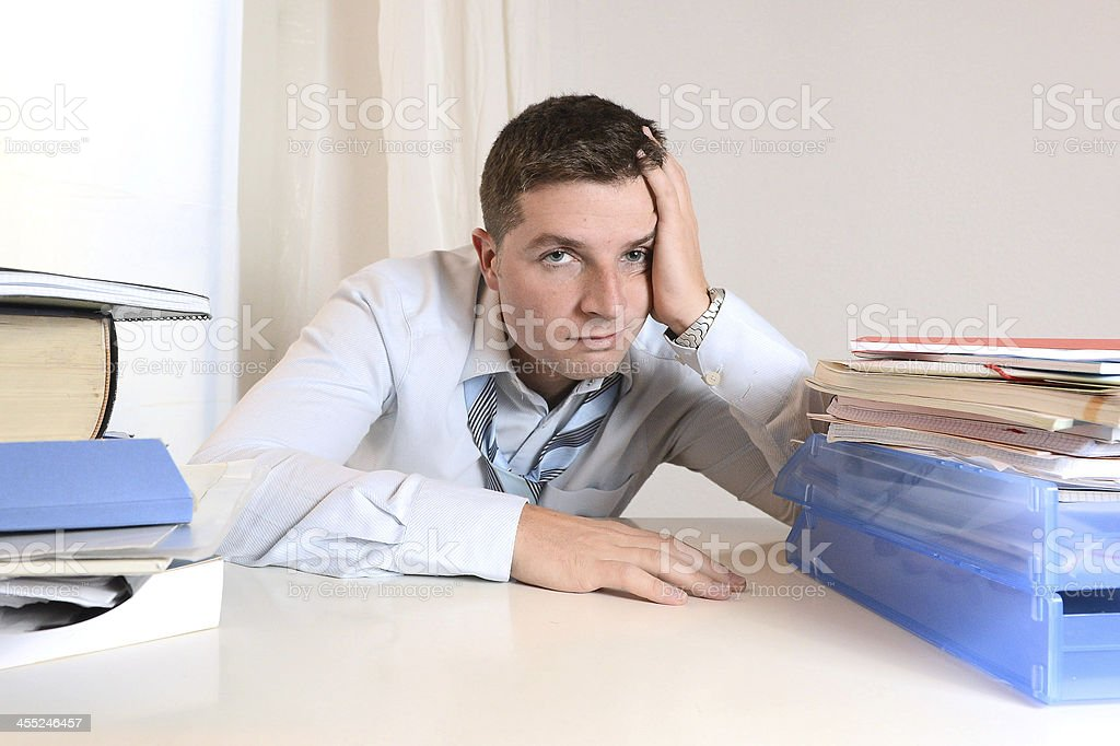 Overwhelmed Student  or Businessman stock photo