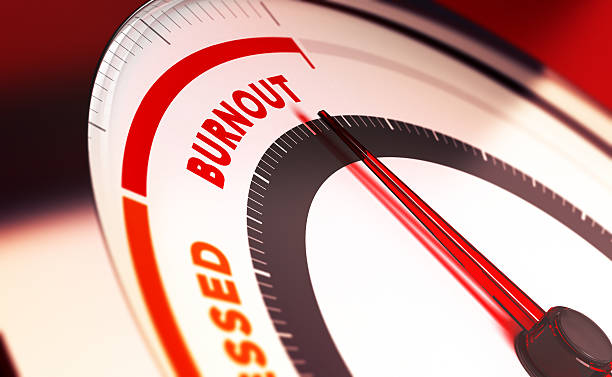 Overwork and Burnout Concept Burnout meter with needle pointing very close to critical position limit. 3D concept for overwork and intellectual exhaustion. mental burnout stock pictures, royalty-free photos & images