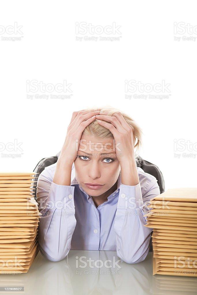 Overwork businesswoman royalty-free stock photo