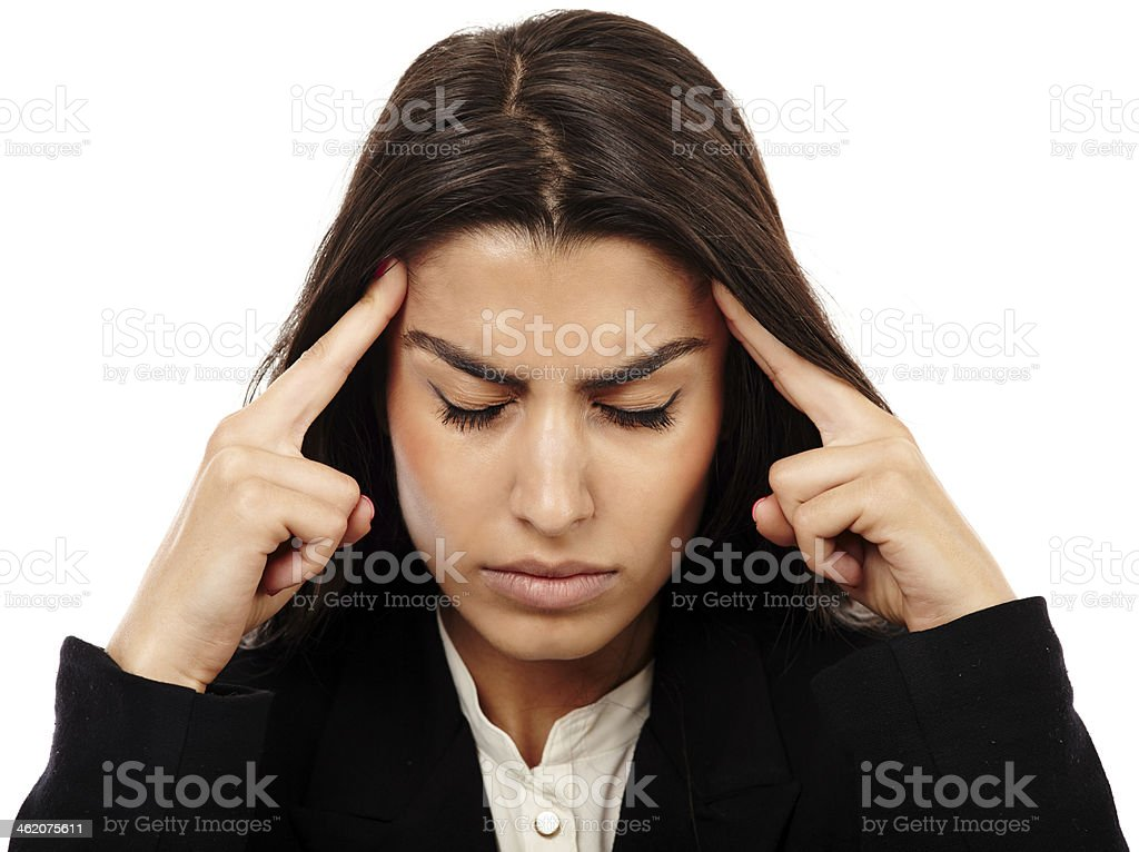 Overworked - businesswoman with strong migraine royalty-free stock photo