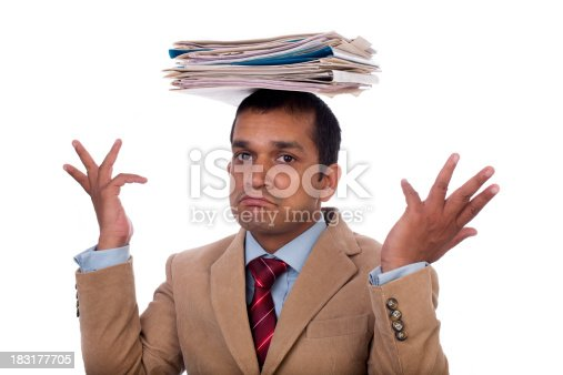 istock Overworked Indian businessman displaying Expressions of despair, boredom and burnout. 183177705