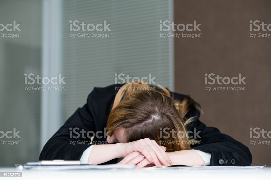 overworking fatigue workaholic tired woman office royalty-free stock photo