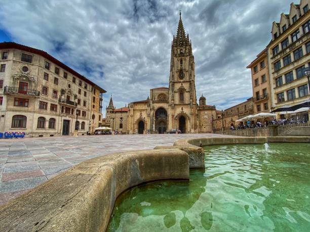 Oviedo cathedral stock photo