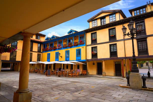 Oviedo fontan square in Asturias Spain stock photo