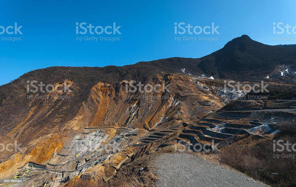 'Owakudani' volcanic valley stock photo