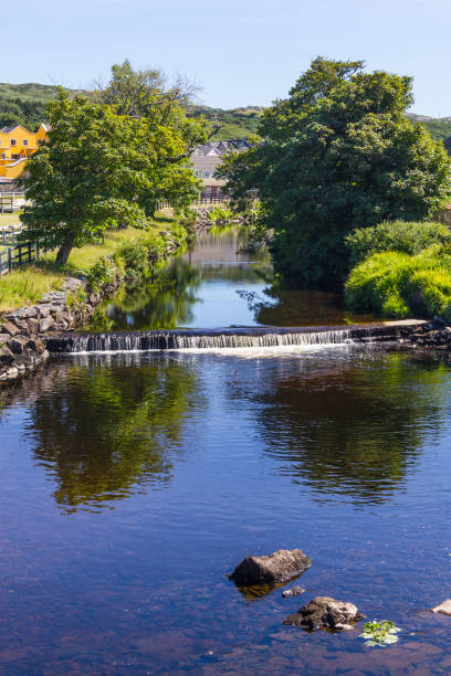 Owenglin river and vegetation in the Clifden stock photo