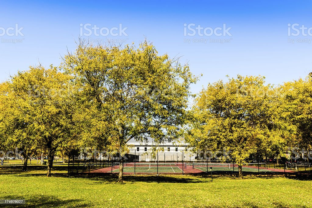 Owens Park Tennis Courts, Calumet Heights, Chicago royalty-free stock photo