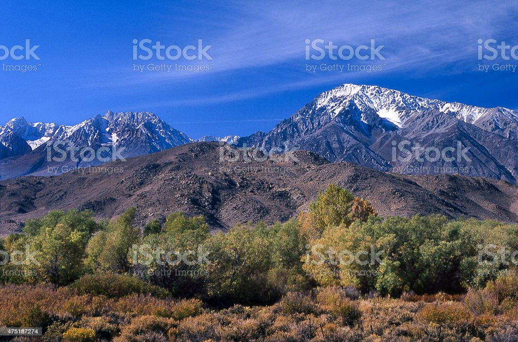 Owens Valley With Sierra Nevada Mountain Range in Backgroung stock photo
