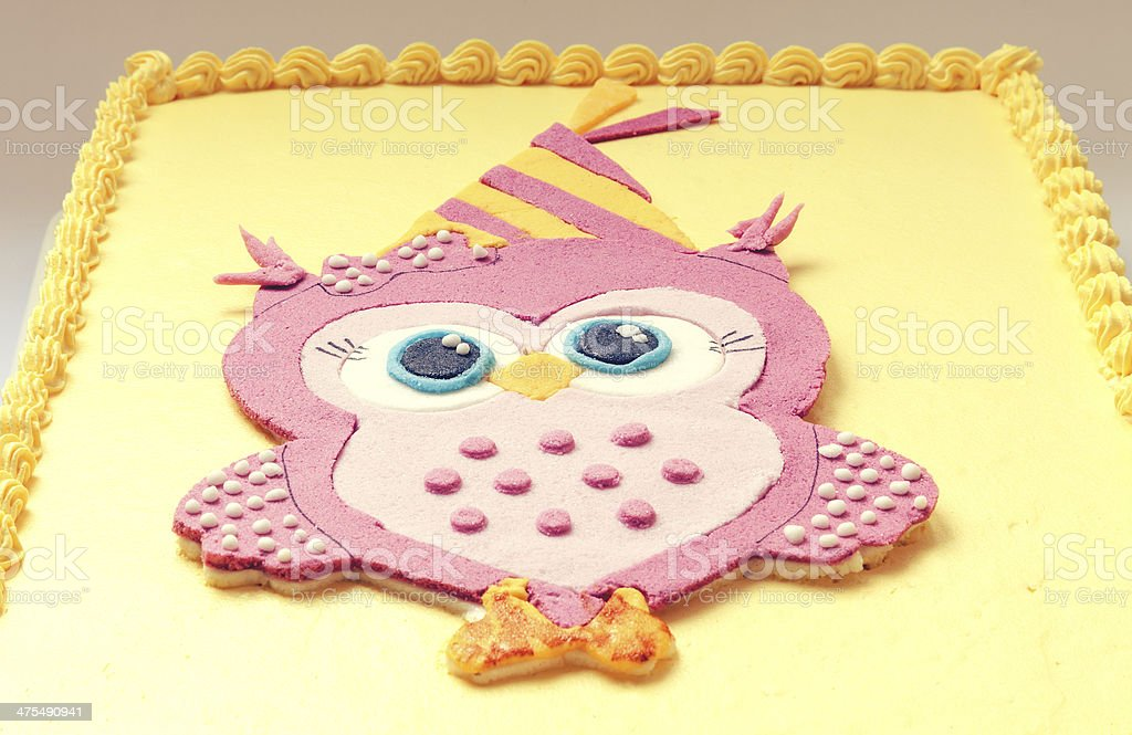 Groovy Owl Birthday Cake Stock Photo Download Image Now Istock Funny Birthday Cards Online Elaedamsfinfo