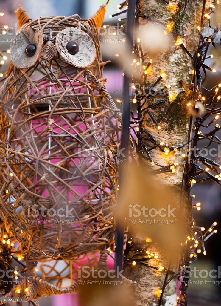 owl by christmas light stock photo