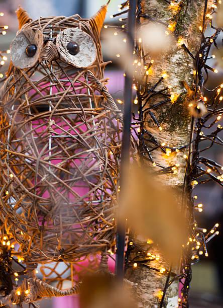 owl by christmas light stock photo
