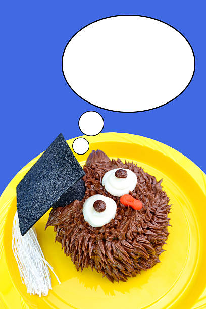 Owl Cupcake Looks Up stock photo
