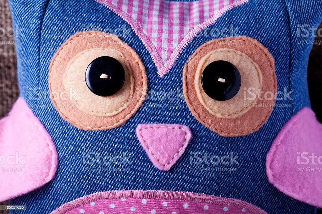 Owl handmade sewn stock photo