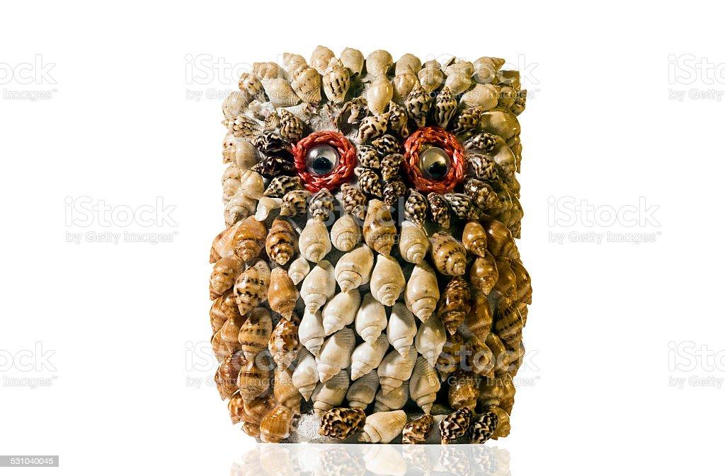 Owl made of seashells stock photo