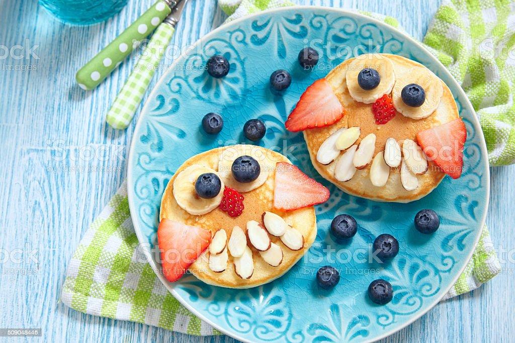 Owl pancakes for kids breakfast stock photo