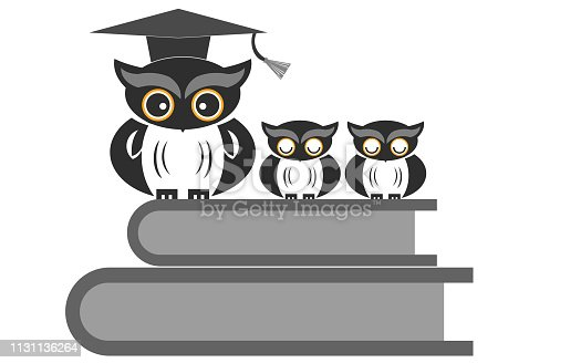 istock Owl sitting on books isolated 1131136264