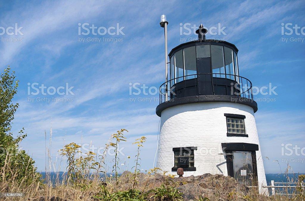 Owl's Head Light on Penobscot Bay in Maine stock photo