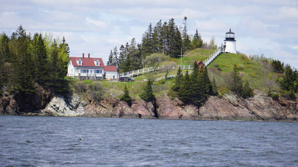 Owls Head Lighthouse View stock photo