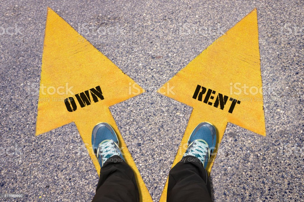 Own and Rent painted on road stock photo