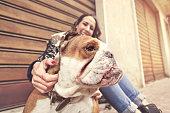 istock owner enjoyed watching its playful bulldog 614848818